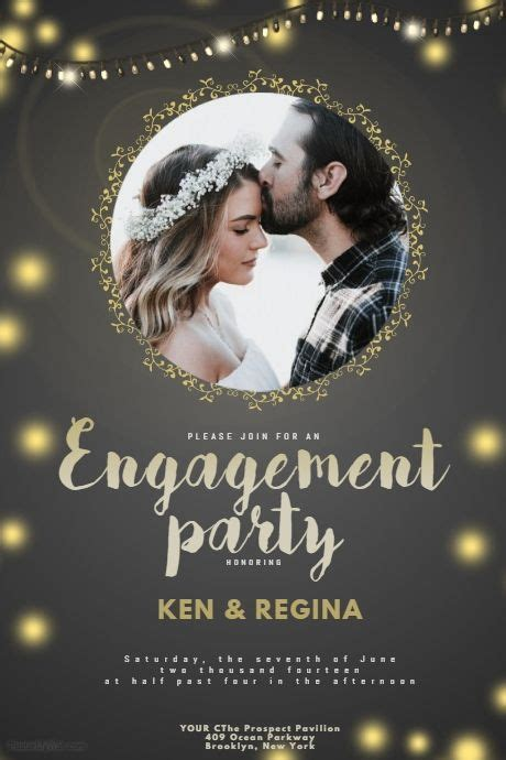 Engagement Party Flyer Template   PosterMyWall   Event