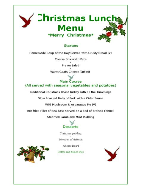 christmas day menu template 5 best agenda templates