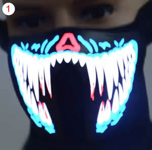 halloween party mask face mask led light up flashing halloween party costume