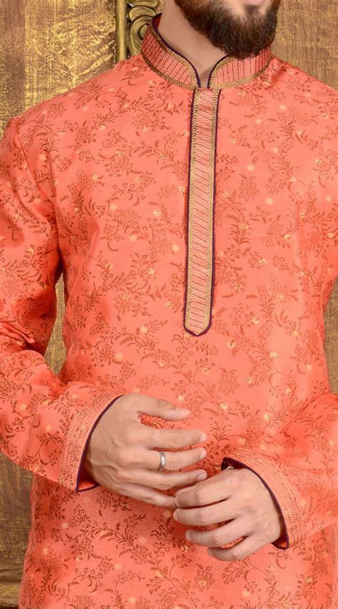 peach color cotton kurta pajama set 5078 peach jacquard churidar kurta pajama tk6641536
