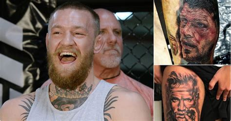 conor mcgregor tattoo portrait michael bisping and conor mcgregor face tattoos by ufc