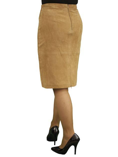 Tan Suede Leather Pencil Skirt, rear zip vent   Tout Ensemble