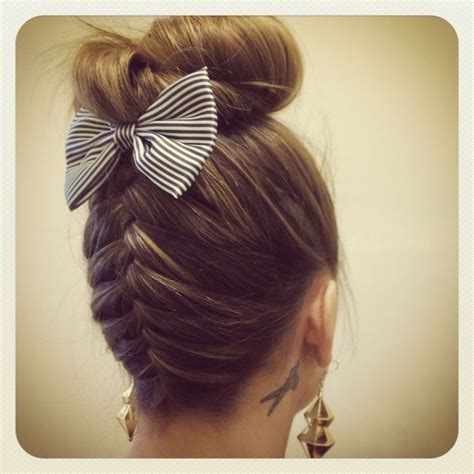 french braid bun on empire french braid bow and bun beauty pinterest braids
