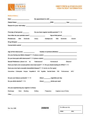 obgyn intake form fill printable fillable