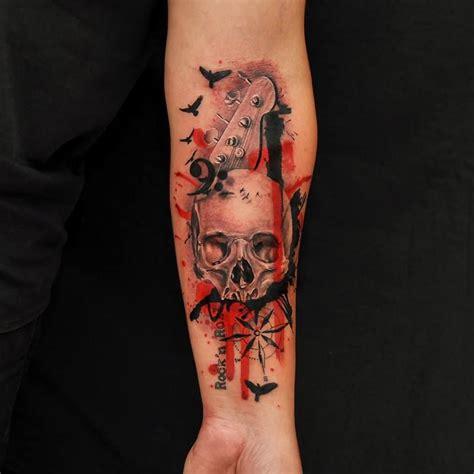 watercolor tattoo guitar tattoos shimizu trash polka