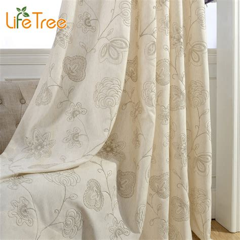 cream living room curtains blue cream stick figures embroidered pastoral curtains