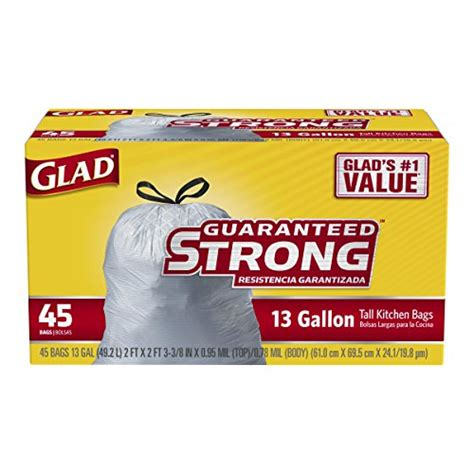 glad tall kitchen drawstring trash bags 13 gallon 45