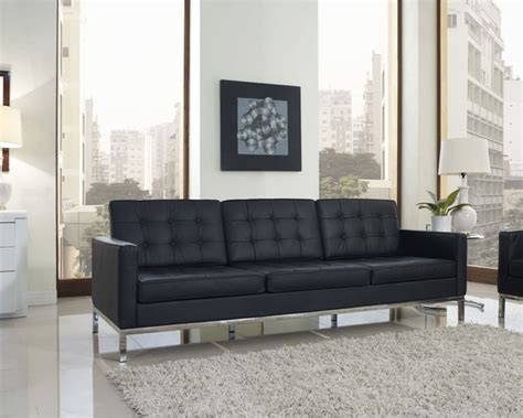 Contemporary Living Room Sofa Florence Style Black Leather Loft Sofa Contemporary Living Room New York By Zin Home