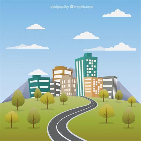imagenes de paisajes urbanos animados paisaje urbano con carretera descargar vectores premium