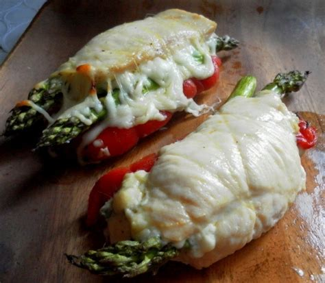 2 thin cut chicken breasts asparagus roasted red peppers