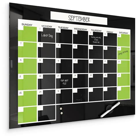 Erase Monthly Calendar Black Magnetic Glass Erase Monthly Calendar