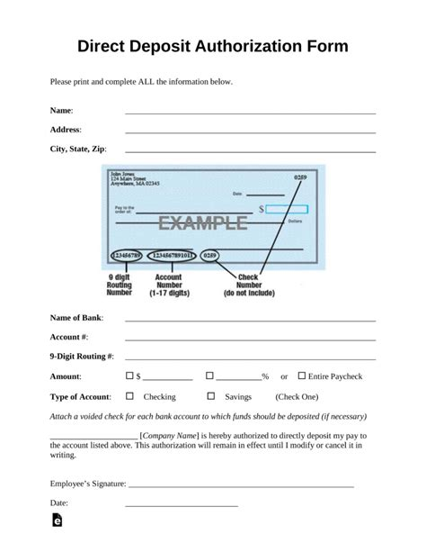 direct deposit forms for employees template free direct deposit authorization forms pdf word