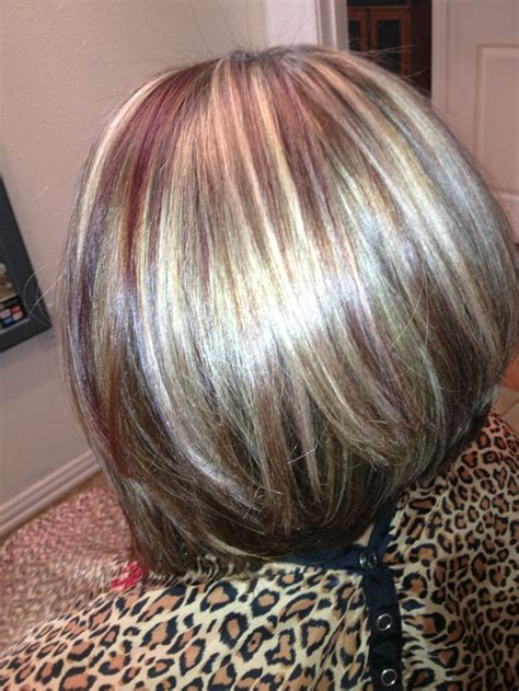 blonde swing bob red and blonde highlights w swing bob stylin pinterest