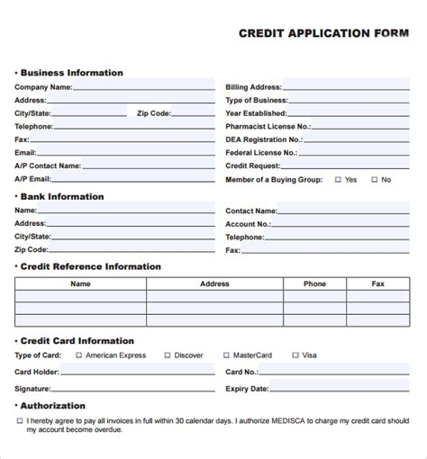 business credit application form template free 8 credit application templates excel excel templates