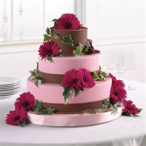 Cake Decorating Fondant Flowers by Pink And Brown Fondant Cake With Gerbera Daisies Call Us