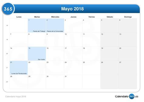 Calendario 2018 Mayo Calendario Mayo 2018