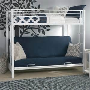 white futon metal bunk bed