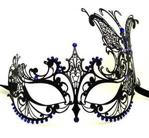 large butterfly metal filigree masquerade mask with blue
