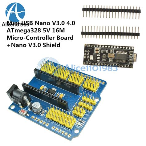 Arduino Nano V3 0 Atmega328 Baru arduino mini usb nano v3 0 4 0 atmega328 5v nano i o expansion sensor shield ebay