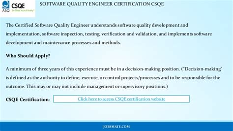 Certified Software Quality Engineer by Software Quality Engineer Certification Csqe