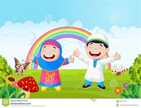 wallpaper anak kecil islami happy muslim kid cartoon waving hand with rainbow stock