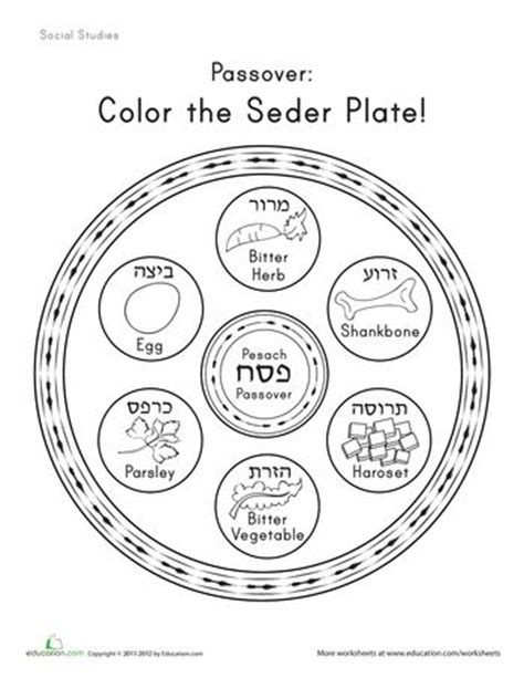 worksheets color the seder plate homeschool ancient
