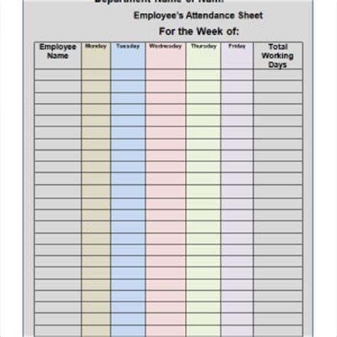 colorful daily attendance sheet template for employee