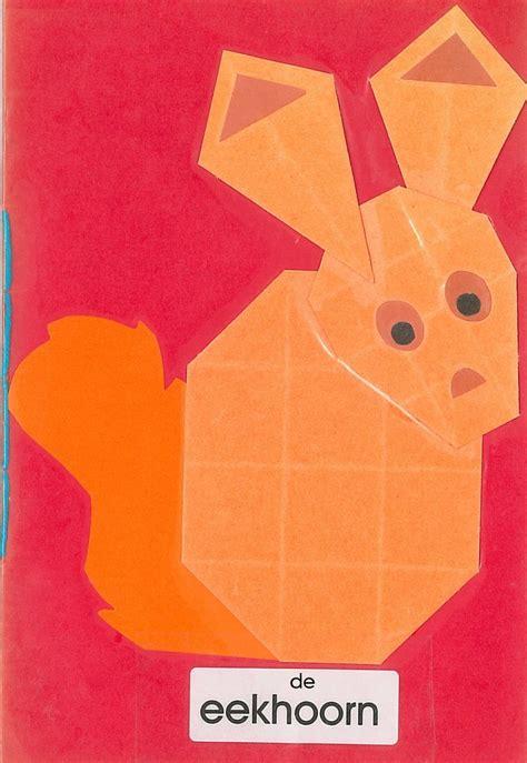 Maths Origami - vouwwerkje vlieger en 16 vierkantjes de eekhoorn herfst
