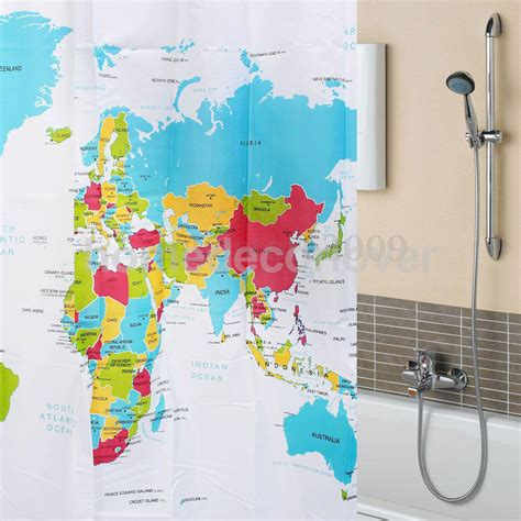 world map shower curtain fabric world map pattern shower curtain bathroom waterproof