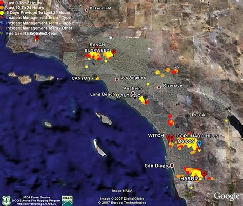 fires in california map california fires june 2008 earth