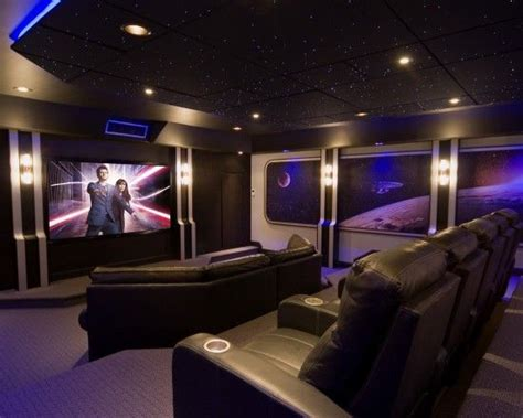 media room outer space themed  starry sky ceiling