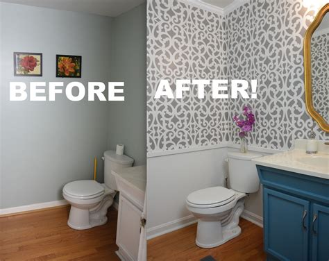 bathroom wall stencil ideas my colorful small gray bathroom makeover with stencils thriftdiving