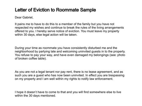 eviction notice for roommate free printable documents
