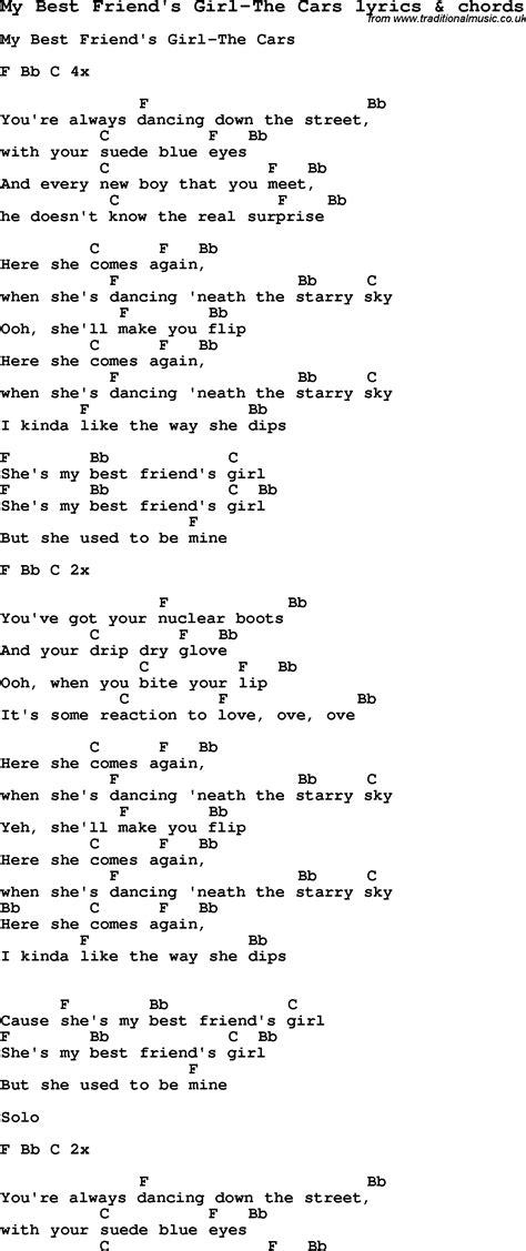lyrics my song lyrics for my best friend s the cars with