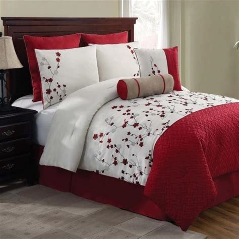 red white comforter new bed bag queen king 5 pc red white floral comforter
