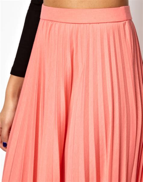 Pleated Flare Maxi Skirt Rok Fit To Big Size lyst river island pleated maxi skirt in pink