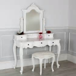 Girls Vanity Table French Chateau White Dressing Table Linen Set With Stool