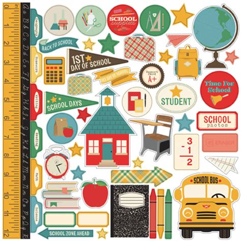 printable school stickers school scrapbooking collection designed by jen gallacher