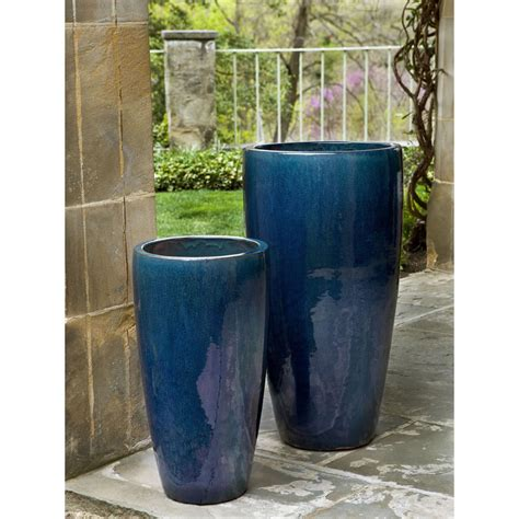 contemporary ceramic tall outdoor planters kinsey garden decor