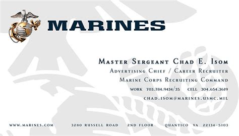 marine corps business card templates and design work on behance