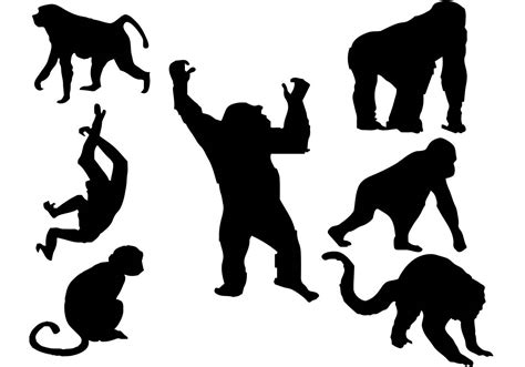 silhouette vector free monkey silhouette vector download free vector art