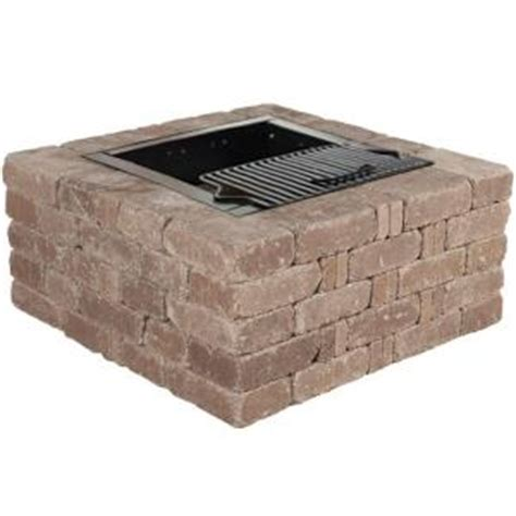 rumblestone pit insert pavestone 38 5 in x 17 5 in rumblestone square pit kit in greystone rsk50834 the home depot