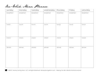 free pack of 11 different printable menu planning forms