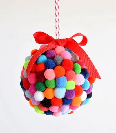 christmas ball art and craft pom pom ornament tutorial things to make and do crafts and activities for the crafty