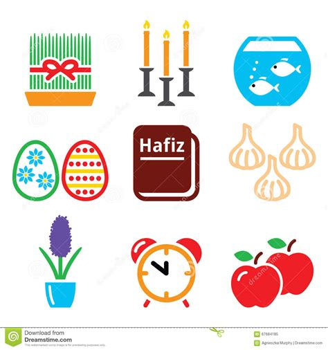 new year icon set nowruz new year icons set 21 march stock