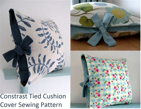 contrast tied cushion cover sewing tutorial home ideas