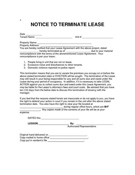 Lease Agreement Notice Of Termination Best Photos Of Lease Termination Notice Notice Of Lease Termination Letter Exle Sle