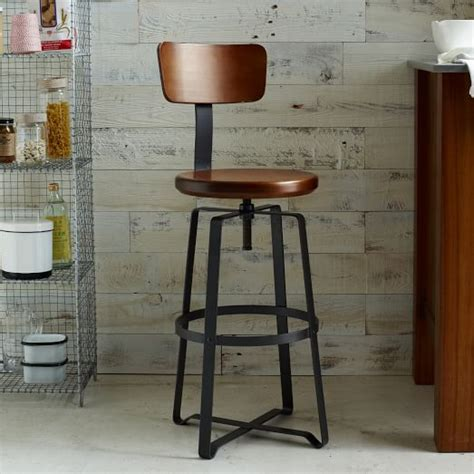 industrial style bar stools with back adjustable rustic industrial stool with back west elm