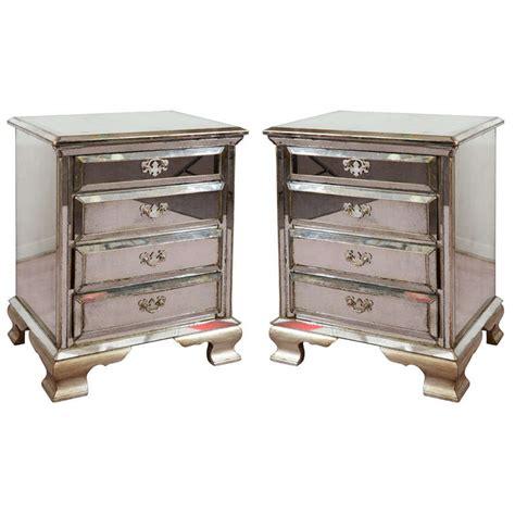 emma 3 drawer nightstand mirrored pair of vintage four drawer mirrored nightstands at 1stdibs