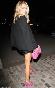 kimberley garner in leather shorts at london fashion week